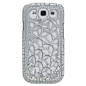 AMZER Synapse Snap On Hard Case for Samsung GALAXY S III-White/Black Craquelure - amzer