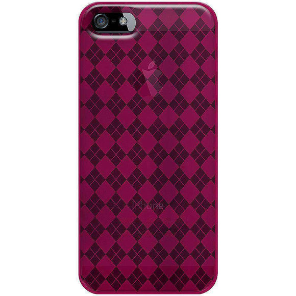 AMZER Luxe Argyle TPU Soft Gel Skin Case for iPhone 5 - Hot Pink