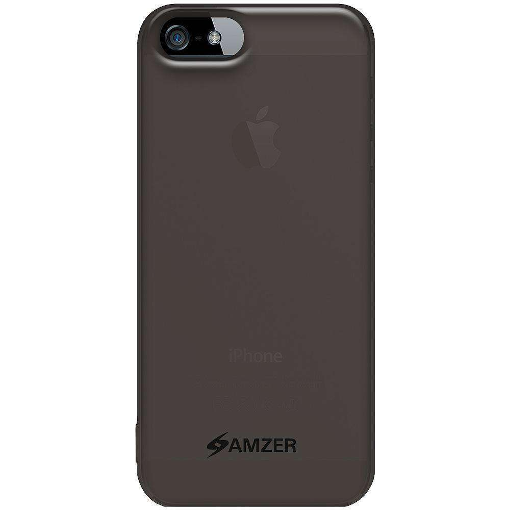AMZER Soft Gel TPU Gloss Skin Case for iPhone 5 - Smoke Grey - amzer