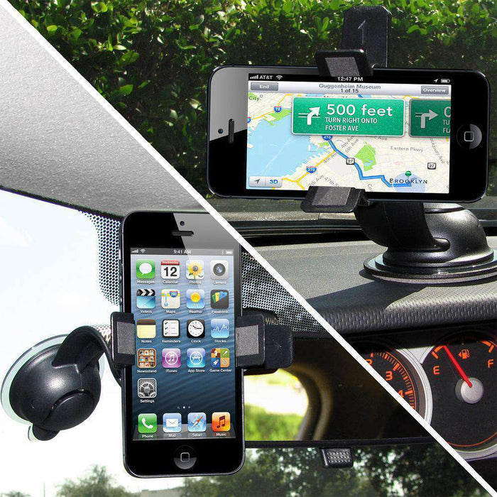 AMZER Dual Car windshield Dash Mount for iPhone 5/5S/SE