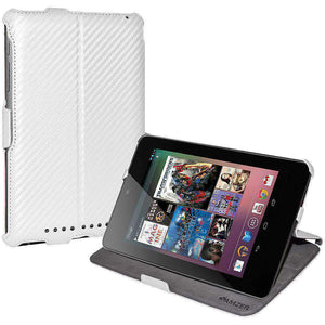 AMZER Shell Portfolio Case Carbon Fiber Texture for Asus Nexus 7 - White