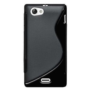 AMZER Soft TPU Hybrid Case for Sony Xperia J ST26i - Black - amzer