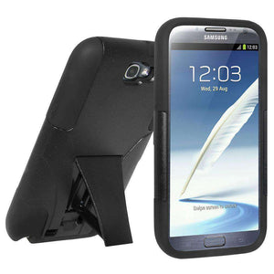 AMZER Double Layer Hybrid Kickstand Case for Samsung Galaxy Note II - Black - amzer