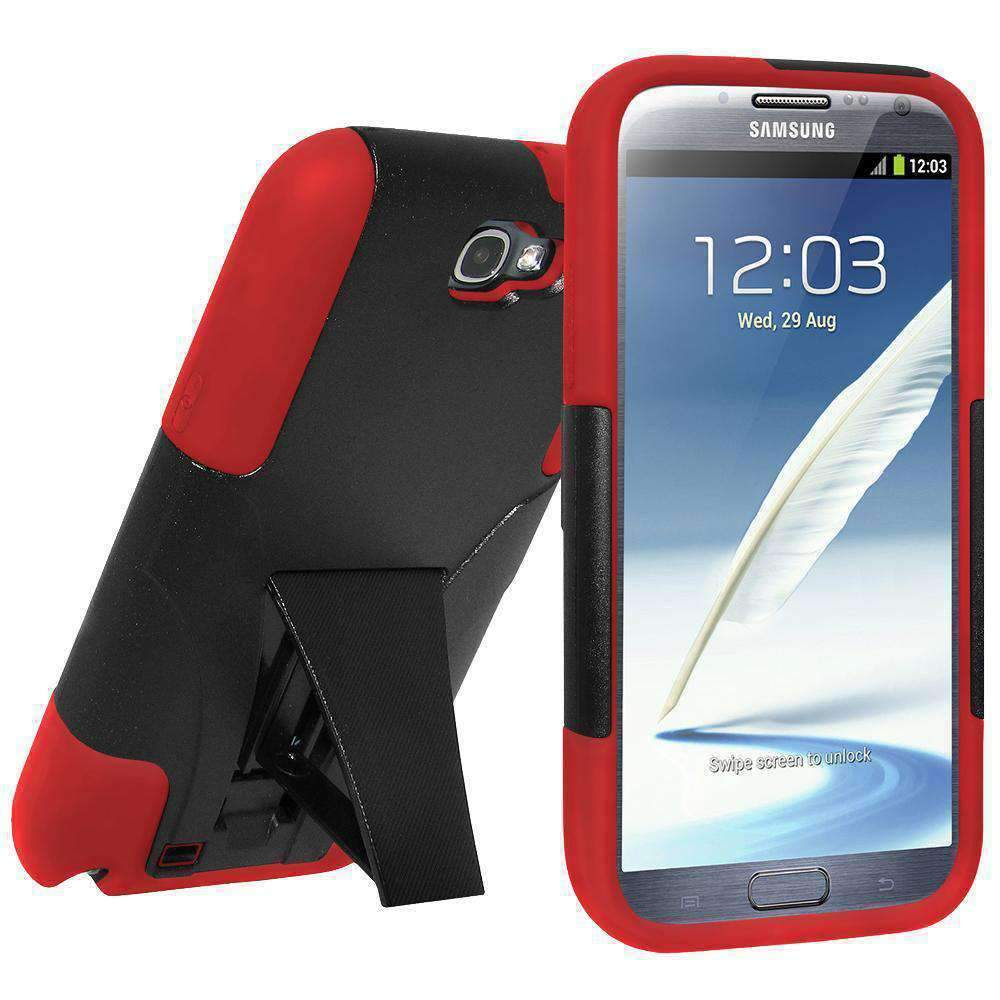 AMZER Double Layer Hybrid Kickstand Case for Samsung Galaxy Note II - Black/Red