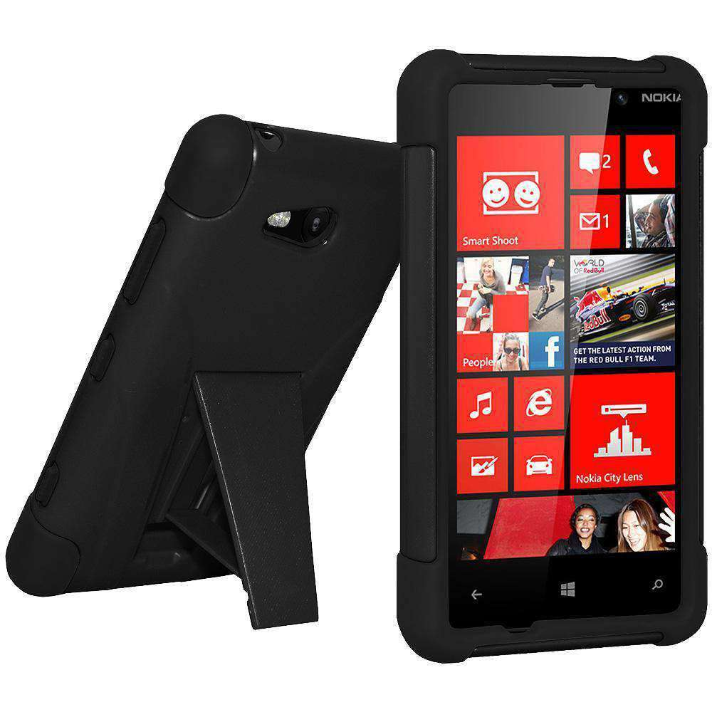 AMZER Double Layer Hybrid Kickstand Case for Nokia Lumia 820 - Black/ Black