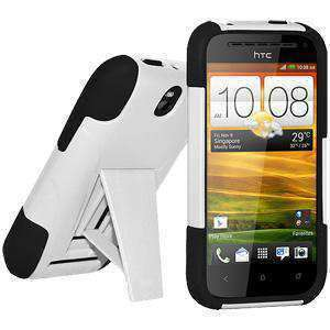 AMZER Double Layer Hybrid Kickstand Case for HTC One SV - Black/White
