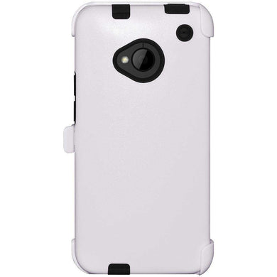 AMZER® Tough Hybrid Case with Rugged Kickstand Holster - White for HTC One M7
