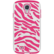 Load image into Gallery viewer, AMZER® Zebra Hybrid Case - White PC + Hot Pink Silicone for Samsung GALAXY S4 GT-I9500 - amzer
