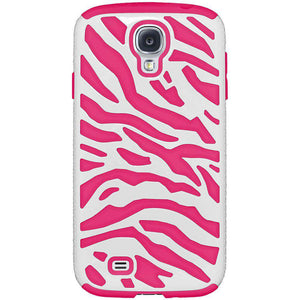 AMZER® Zebra Hybrid Case - White PC + Hot Pink Silicone for Samsung GALAXY S4 GT-I9500 - amzer