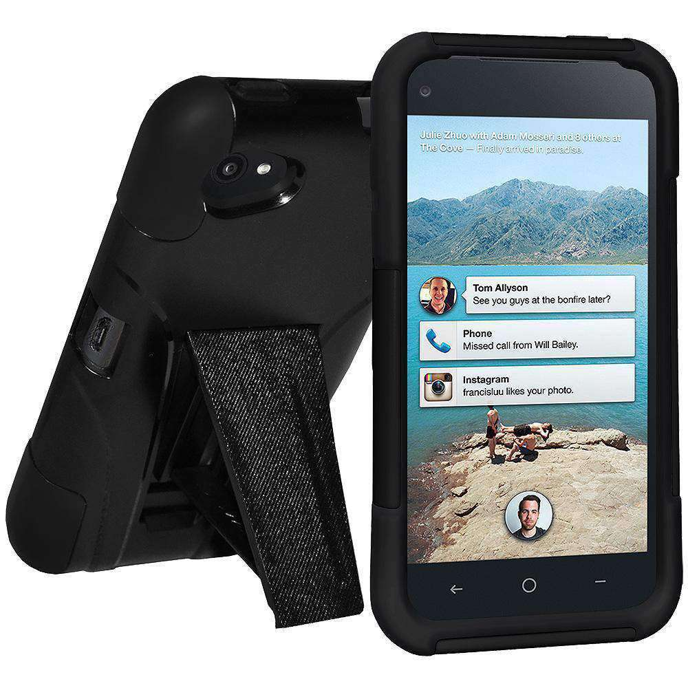 AMZER Double Layer Hybrid Kickstand Case for HTC First - Black/ Black - amzer