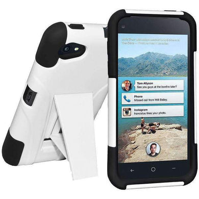 AMZER Double Layer Hybrid Kickstand Case for HTC First - Black/White