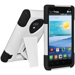 AMZER Double Layer Hybrid Kickstand Case for LG Lucid 2 VS870 - Black/White