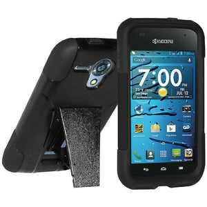 AMZER Double Layer Hybrid Kickstand Case for Kyocera Hydro Edge - Black/ Black - amzer