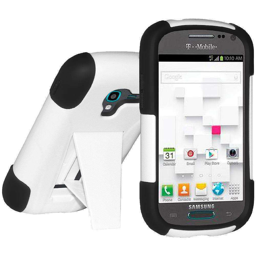 AMZER Double Layer Hybrid Kickstand Case for Samsung Galaxy Exhibit -Black/White - amzer