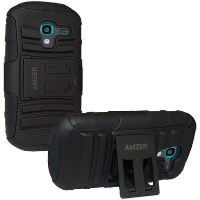 AMZER® Hybrid Kickstand Case - Black/ Black for Samsung Galaxy Exhibit SGH-T599N