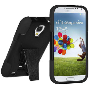 AMZER Double Layer Hybrid Kickstand Case for Samsung GALAXY S4 - Black/ Black