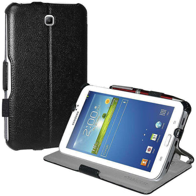 AMZER Shell Portfolio Case Leather Texture for Samsung Galaxy Tab 3 7.0 - Black - amzer