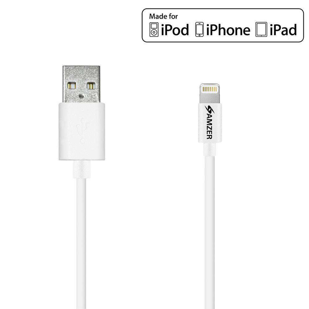 Amzer Apple MFi Certified Sync & Charge Lightning to USB Cable (6 Ft/1.8 M) - White