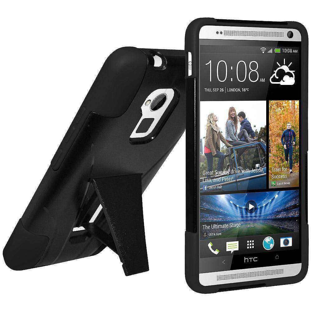 AMZER Double Layer Hybrid Kickstand Case for HTC One Max - Black/ Black