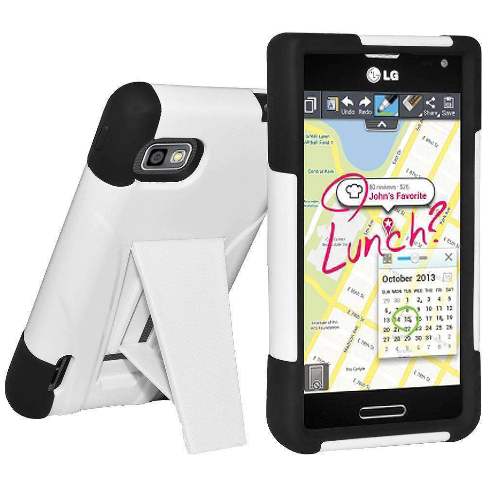 AMZER Double Layer Hybrid Kickstand Case for LG Optimus F3 MS659 - Black/White - amzer