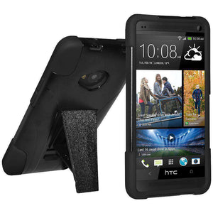 AMZER Double Layer Hybrid Kickstand Case for HTC One M7 - Black/ Black