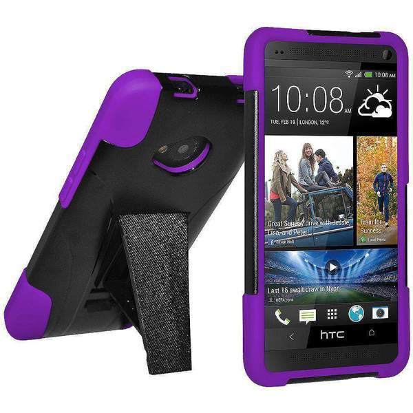 AMZER Double Layer Hybrid Kickstand Case for HTC One M7 - Black/ Purple