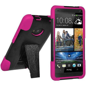 AMZER Double Layer Hybrid Kickstand Case for HTC One M7 - Black/ Hot Pink