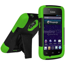 Load image into Gallery viewer, AMZER Double Layer Hybrid Kickstand Case for Huawei H882L - Black/ Neon Green - amzer
