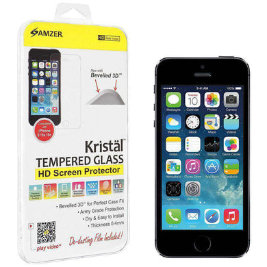 AMZER Kristal Tempered Glass HD Screen Protector for iPhone 5 - amzer