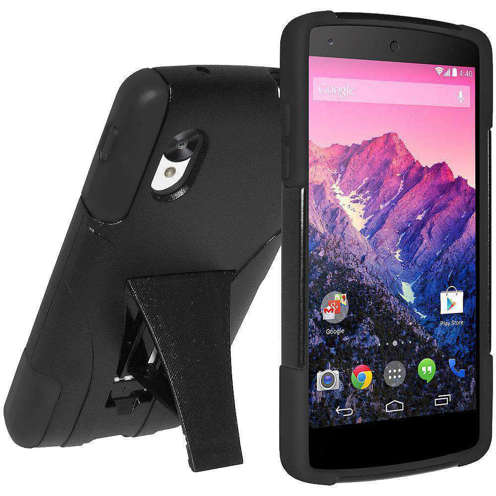 AMZER Double Layer Hybrid Kickstand Case for Google Nexus 5 D820 - Black/ Black