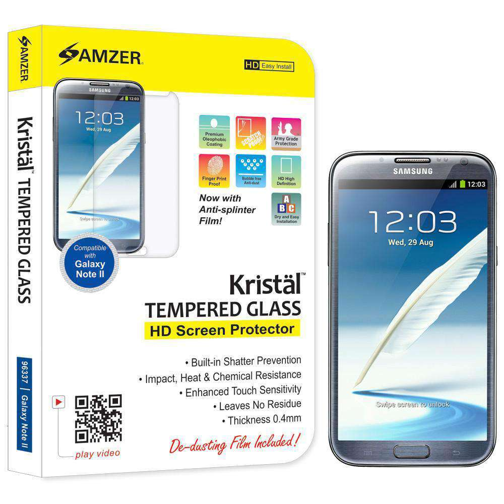 AMZER Kristal Tempered Glass HD Screen Protector for Samsung Galaxy Note II