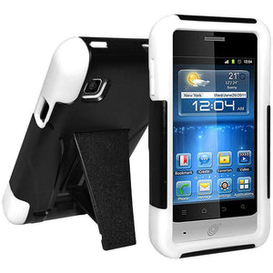 AMZER Double Layer Hybrid Kickstand Case for ZTE Illustra Z788G - Black/White - amzer