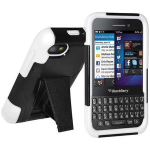 AMZER Double Layer Hybrid Kickstand Case for BlackBerry Q5 - Black/White