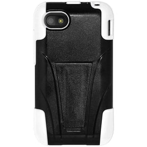 AMZER Double Layer Hybrid Kickstand Case for BlackBerry Q5 - Black/White - amzer