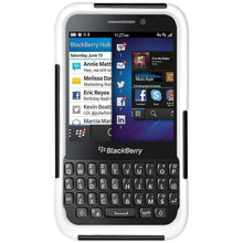 Load image into Gallery viewer, AMZER Double Layer Hybrid Kickstand Case for BlackBerry Q5 - Black/White - amzer