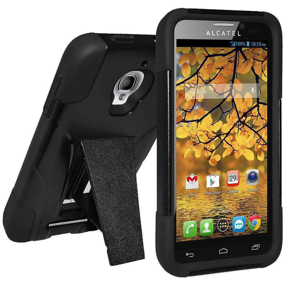 AMZER Double Layer Hybrid Kickstand Case for Alcatel OneTouch Fierce - Black