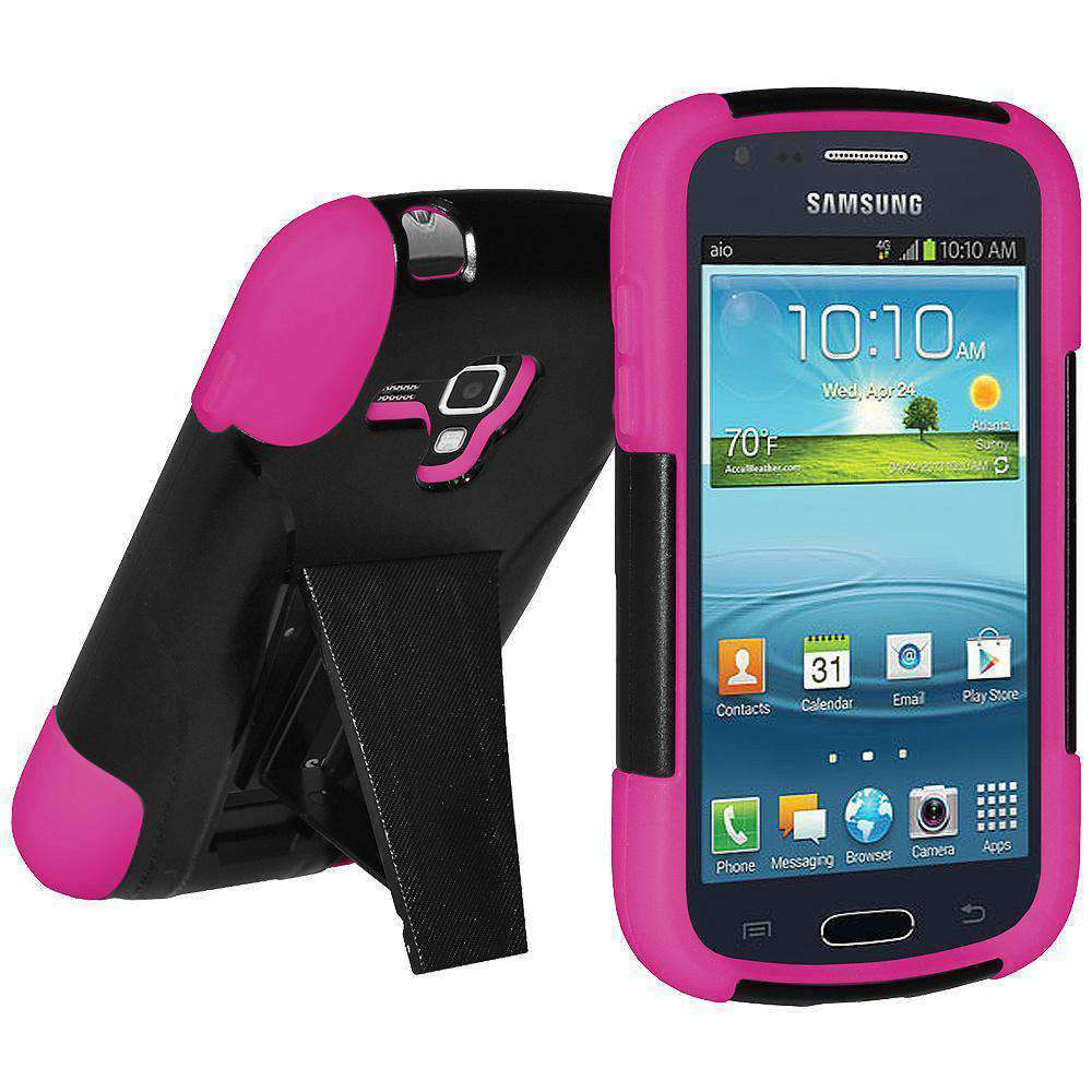 AMZER Double Layer Hybrid Kickstand Case for Samsung Galaxy Amp - Black/Hot Pink - amzer