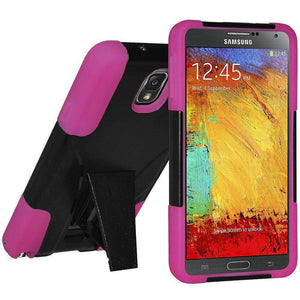 AMZER Dual Layer Hybrid Kickstand Case for Samsung GALAXY Note 3 - Black/HotPink