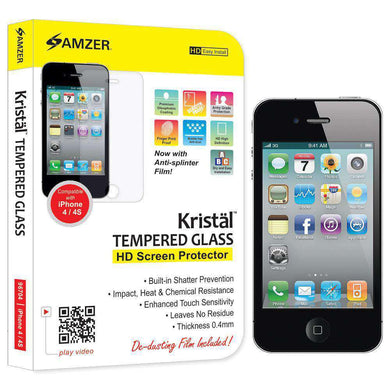 AMZER Kristal Tempered Glass HD Screen Protector for iPhone 4 - amzer