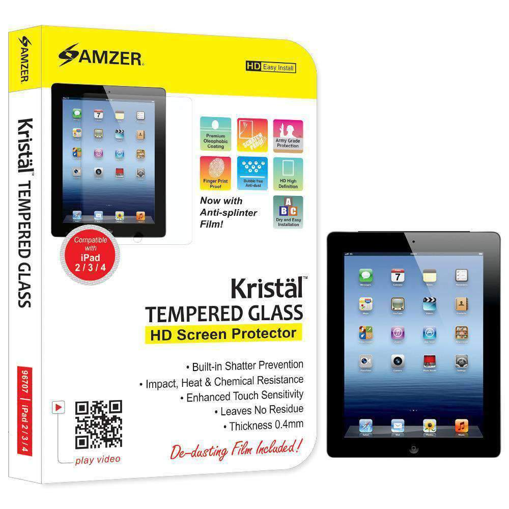 AMZER Kristal Tempered Glass HD Screen Protector for Apple iPad 4 with Retina Display