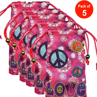 AMZER® Drawstring Pouch - Peace & Love