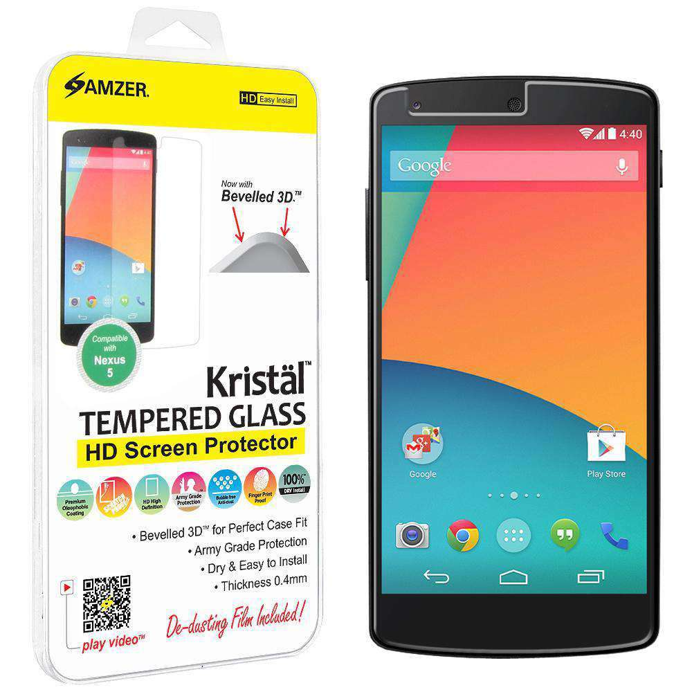 AMZER Kristal Tempered Glass HD Screen Protector for Google Nexus 5 D820 - Clear