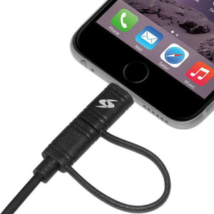 Amzer Apple MFi Certified 2-1 Sync & Charge Lightning cable with micro usb(3.2 Ft/ 1 M)-Black - amzer