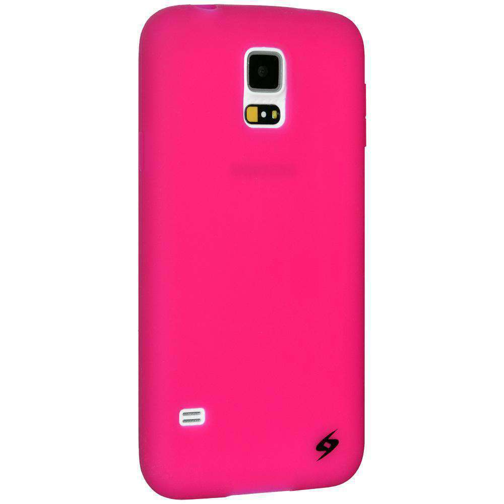 AMZER Silicone Skin Jelly Case for Samsung Galaxy S5 Neo SM-G903F - Hot Pink - amzer