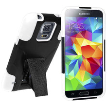 Load image into Gallery viewer, AMZER Double Layer Hybrid Kickstand Case for Samsung Galaxy S5 Neo - White/Black - amzer