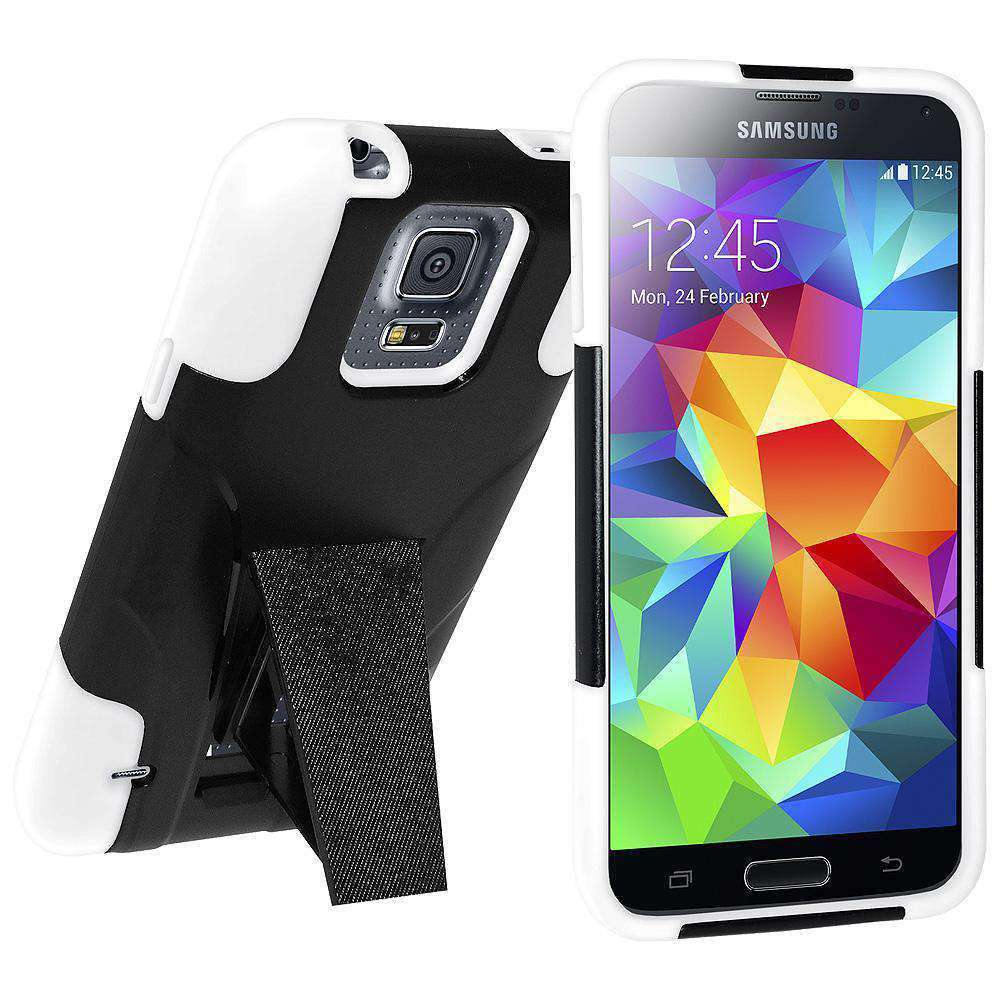 AMZER Double Layer Hybrid Kickstand Case for Samsung Galaxy S5 Neo - White/Black - amzer