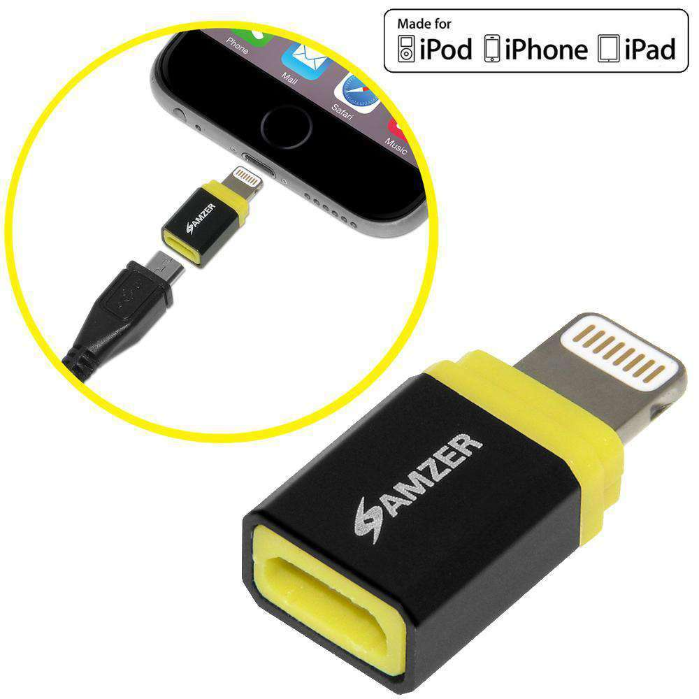 AMZER Apple MFi Certified Lightning to MicroUSB Adapter - Yellow/Black