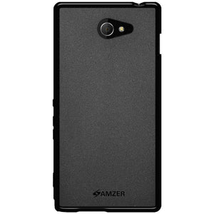 AMZER Pudding Soft TPU Skin Case for Sony Xperia M2 - Black