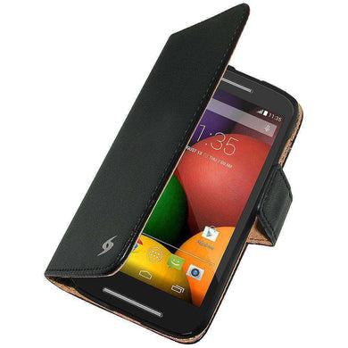 AMZER Flip Leather Case for Motorola Moto E XT1022 - Black - amzer
