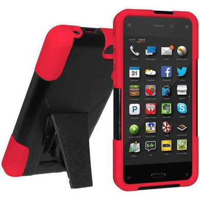 AMZER Double Layer Hybrid Kickstand Case for Amazon Fire Phone - Black/ Red